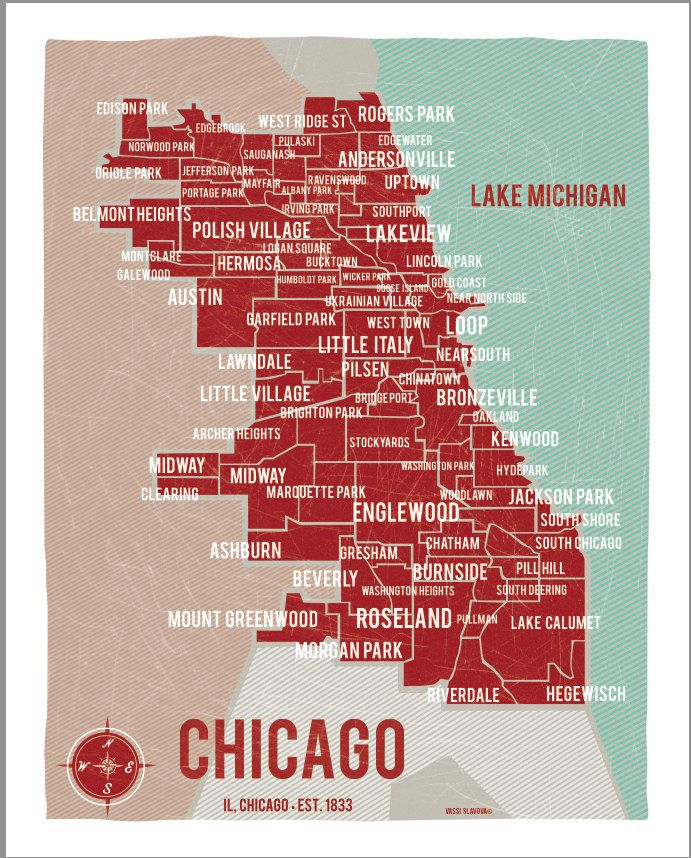 Chicago Map Red 16x20 Digital Print 243