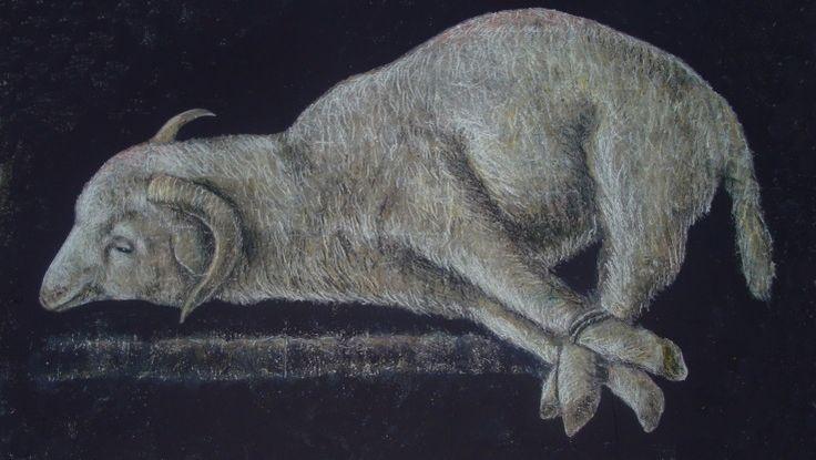 AGNUS DEI - από το ομώνυμο έργο του Francisco de Zurbarán Street painting στο Αιτωλικό