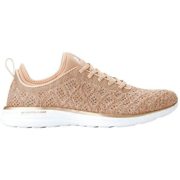 APL Women's TechLoom Phantom Rose Gold Performance Sneakers featuring polyvore, women's fashion, shoes, sneakers, gold, lace up shoes, lacing sneakers, laced shoes, rose gold trainers and lace up sneakers