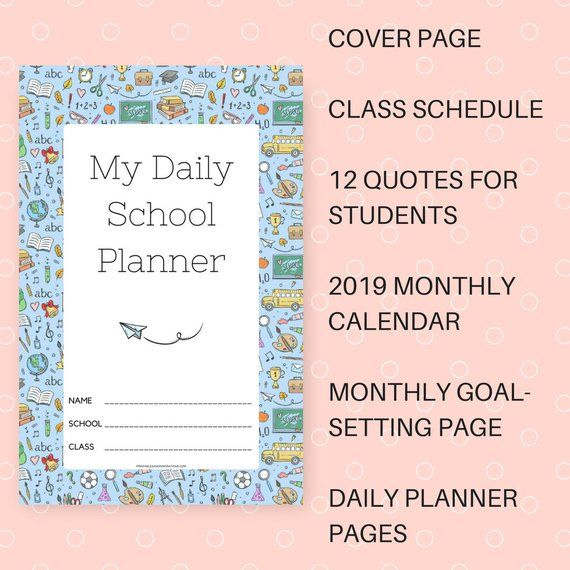 2019 Daily School Planner with Calendar Printable PDF | Products