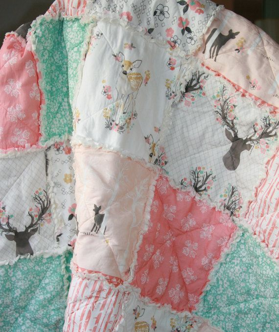 Please use PayPal to make payments, Etsy is experiencing problems with direct checkout. Made to order see shop announcement for current turnaround time. Please read description Pretty rag quilt made with Fawn fabric from Hawthorne Threads, its modern yet feminine at the same time. The back of the quilt was done in the highest quality cream muslin (trust me they are not all the same) and it was batted with polyester batting for extra coziness. Measuring approx 38in x 46in its a great crib…
