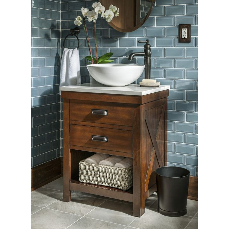 shop allen roth cromlee bark vessel poplar bathroom vanity with engineered stone top faucet