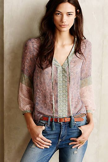 Patchworked Silk Peasant Top