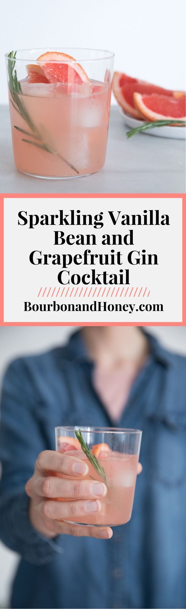 Sparkling Vanilla and Grapefruit Gin Cocktail {Video} | BourbonandHoney.com --   Light, fresh and bubbly, thisSparkling Vanilla and Grapefruit Gin Cocktail recipe is the perfect drink for a brunch or sunny afternoon! #Gin #Cocktail #Recipe #HappyHour #video  #wineglasswriter #cocktailrecipes