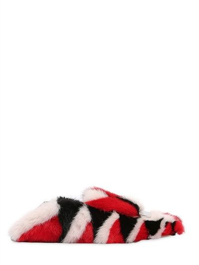 SERGIO ROSSI 10Mm Metal Plaque Mink Fur Loafers, Red/White/Black. #sergiorossi #shoes #loafers