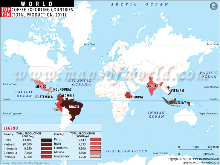 What are the top ten coffee exporting countries ...