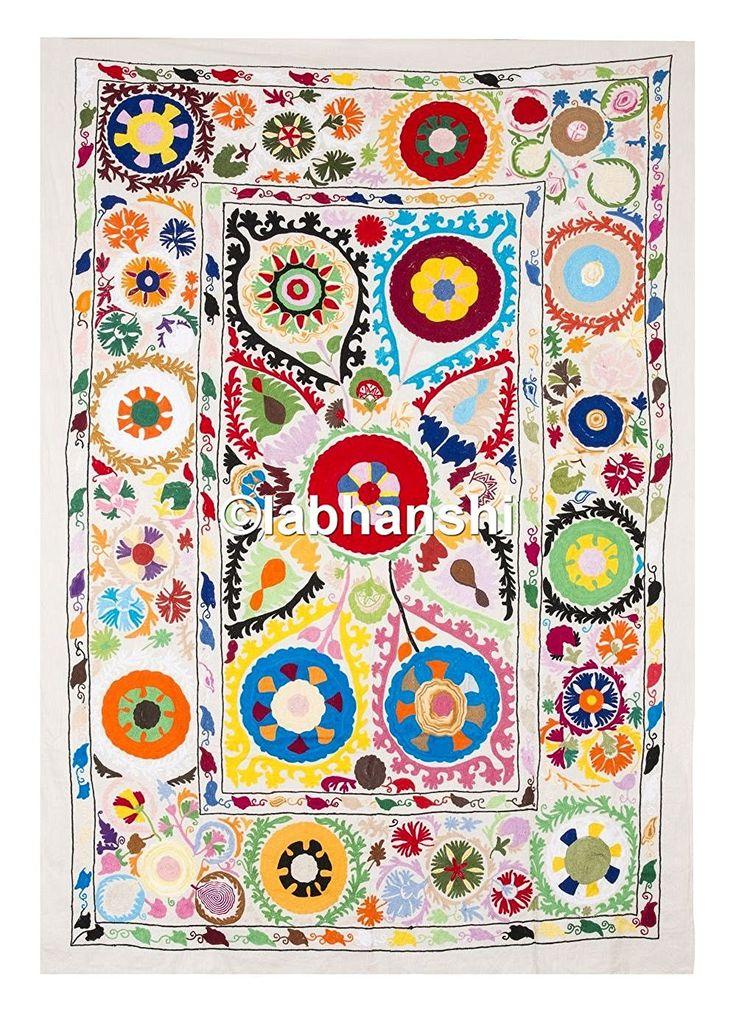 Superbe Antique Suzani broderie textile ethnique Turquie Moyen-Orient Ouzbékistan Tapisserie Couvre-lit Lit Indien mur décor Art: Amazon.fr: Cuisine & Maison
