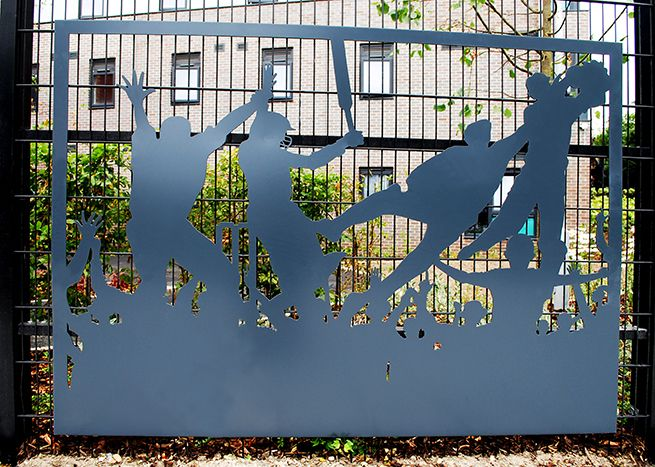 Grace & Webb's laser cut panels as public art at the St Marys student accommodation Southampton, inspired by the nearby cricket ground.
