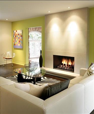 Recess lighting above the fireplace  FireplaceMedia Center