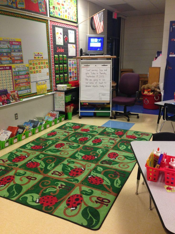 Ladybug rug ladybug classroom theme pinterest school for Classroom rug