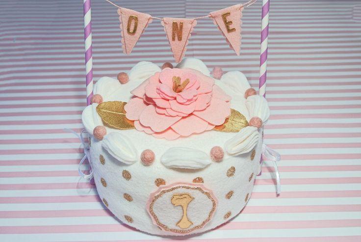 "Handmade felt one year birthday Cake - 6"" whole cake. Felt Cake, Party Decor, Birthday cake girl, photo prop, cake topper, first birthday by PinkKittyPrincess on Etsy https://www.etsy.com/listing/460342766/handmade-felt-one-year-birthday-cake-6"