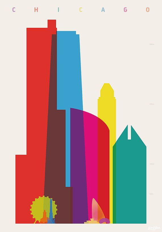 Shapes of CHICAGO Art Print - by DesignedbyYoni on Etsy