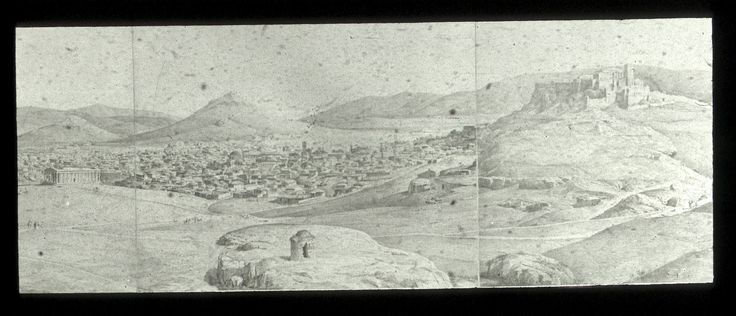 Panorama of Athens, detail. Watercolor by Stademan.