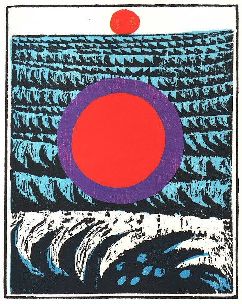 Antonio Frasconi woodcut // Overhead the sun : lines from Walt Whitman // In cabin'd ships at sea, The boundless blue on every side expanding, With whistling winds and music of the waves, the large imperious waves, Or some lone bark buoy'd on the dense marine