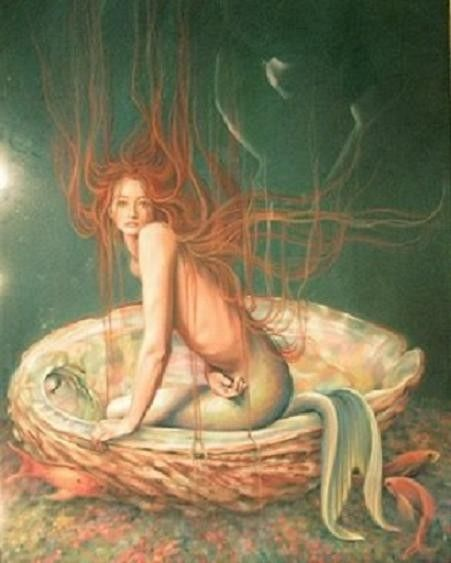 ✯ Redhaired Mermaid on her Shell :: Artist Sheila Wolk ✯