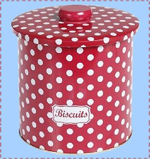 retro red polka dot biscuit tin