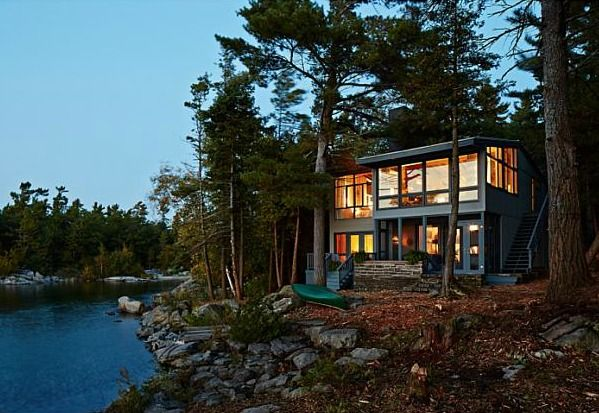 Modern exterior for a cottage on Georgian Bay. Designed by Sarah Richardson (via Hooked on Houses).