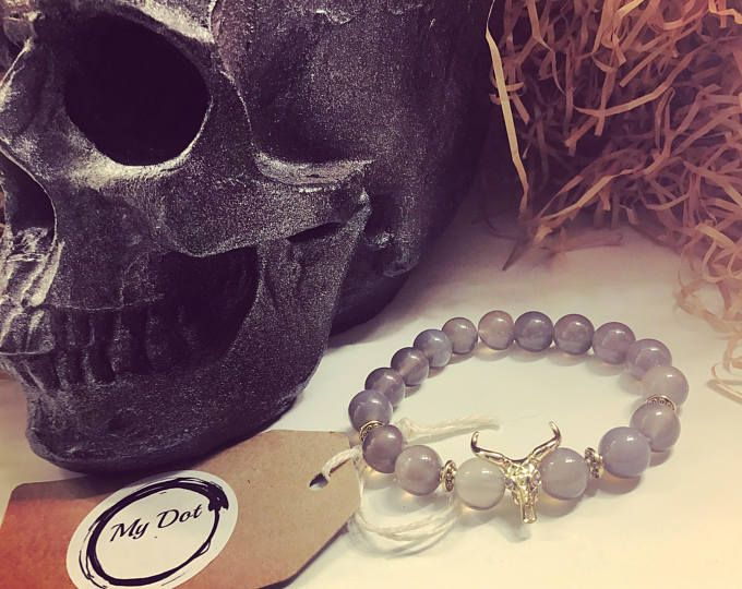 Beaded bracelet Agat stone Unisex bull charm bracelet Brass metal Accessories Grey bracelet
