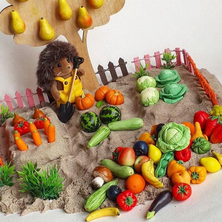 Овощи и фрукты из полимерной глины (учим названия, цвет, счет, кормим животных и тд)