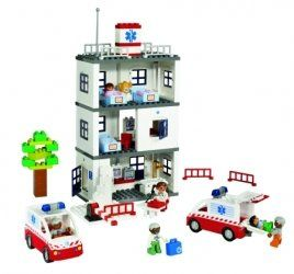 LEGO DUPLO Hospital Set by LEGO. $99.99. 96 pieces. Large building panels for easy and flexible building. Endless role-play possibilities. Doctor, nurse, paramedics and two ambulances. Great for the classroom. From the Manufacturer                Hospital visits can make a major impression on young children. This set provides a tool for exploring emotions related to illness and taking care of each other. The large building panels make it possible to build high or sin...