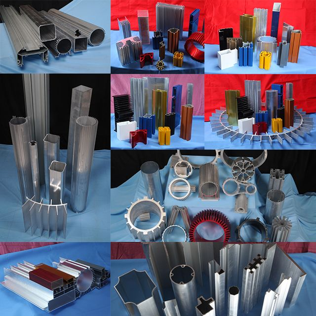 Display of Extrusion sections – some with color anodized.  #JindalAluminium