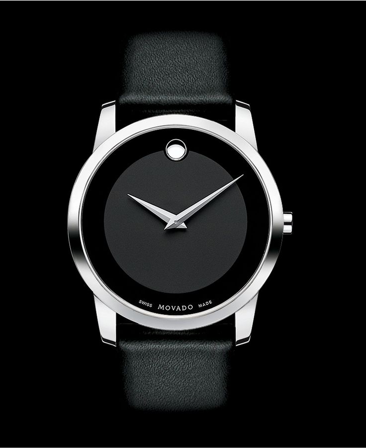 Movado Watch, Men's Swiss Museum Black Leather Strap 40mm 0606502 - Men's Watches - Jewelry & Watches - Macy's