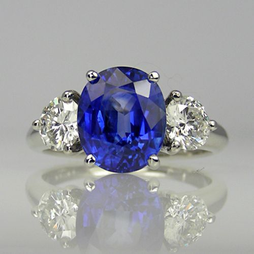 Sapphire And Diamond Ring In Platinum; Also A Completely