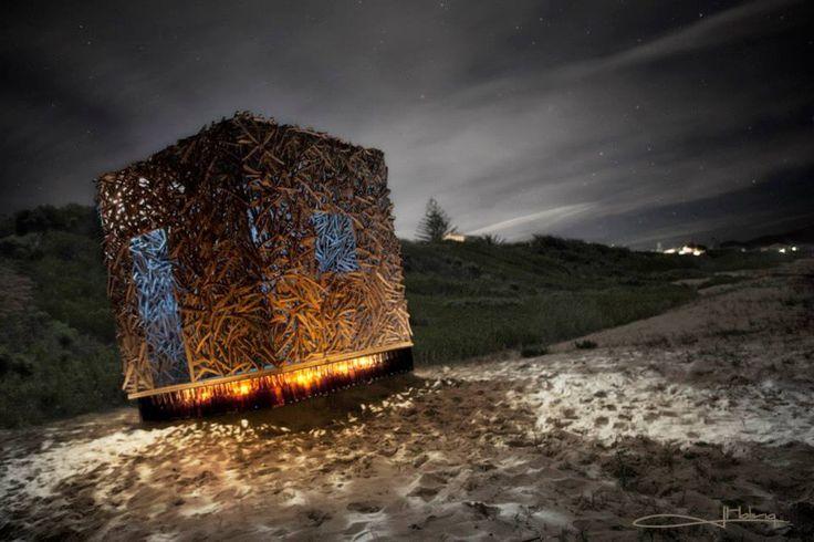 """Imagician (photo).  'Genius Loci' by Andrea Cristoforetti and Roger Trebilcock """"the driftwood man""""."""