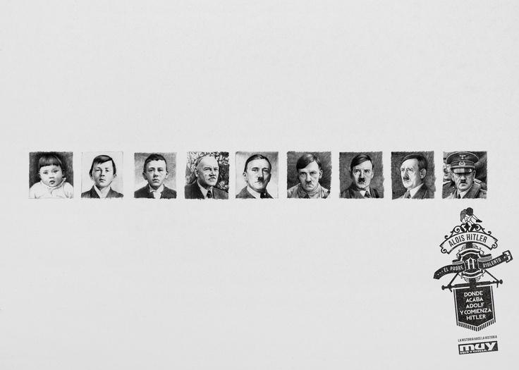 """Campaña 2013 """"la Historia hace la Historia"""" para #MuyHistoria de #GreySpain (Pieza: Alois Hitler / Adolf Hitler)"""