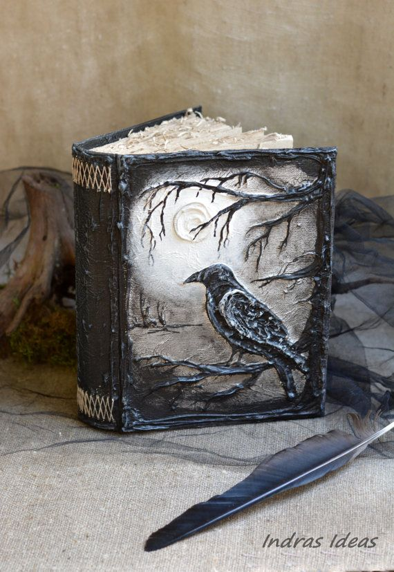 Crow Black Magic book Handmade Journal Diary Altered Art Book Handmade Journal Mixed Media Art Books