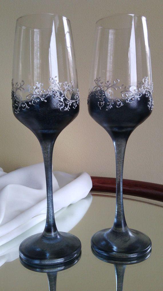 White Filigree Painted Vintage Champagne Glasses