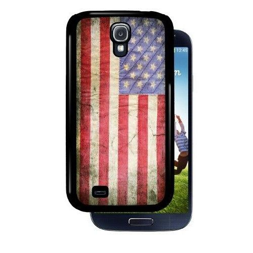 """American Flag - Black Samsung Galaxy S4 Dual Protective Durable Case  """"Has precise cut-outs to allow full access to the phone s features *High quality plastic and rubber case *5.38 x 2.75 x 0.31 inches *Prevents scratches and damages to your phone *Sprint, Verizon, AT&T, T-Mobile *Thin and lightweight """""""