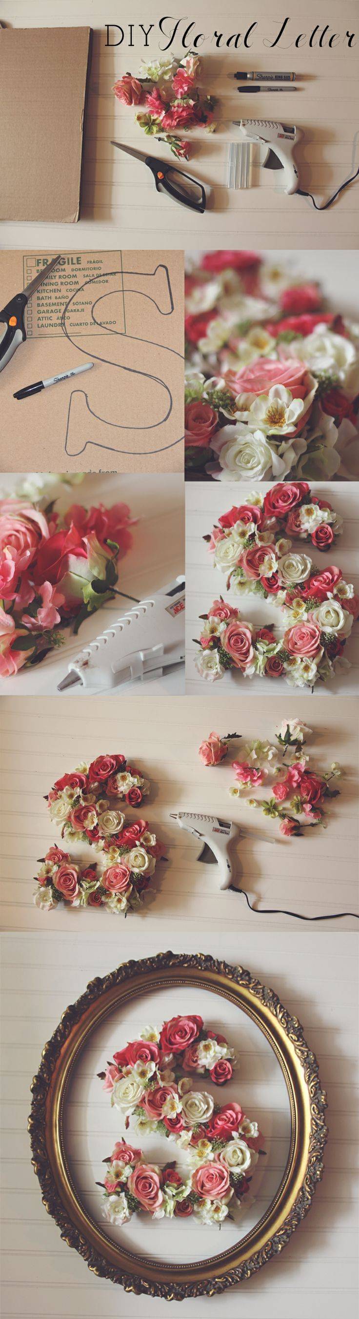 DIY floral letter...Love it, I'm sooooo doing this!!! - we can SO make this for your wedding!!! #manualidades_diy_deco