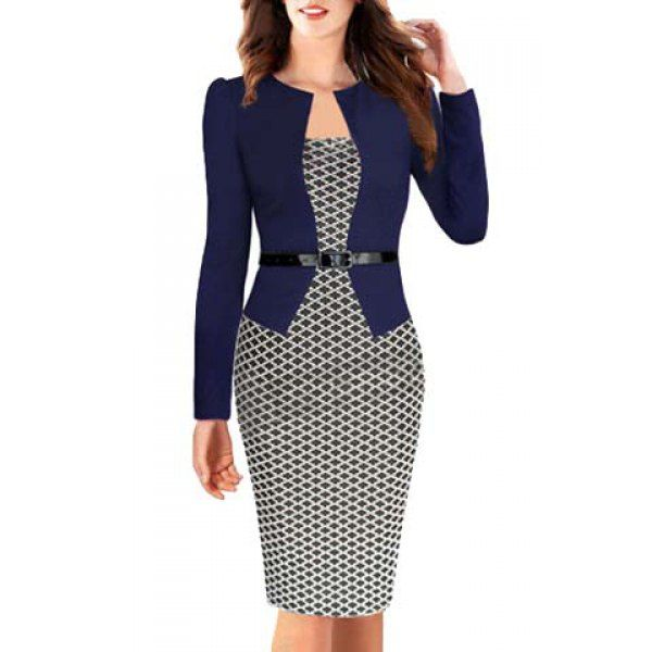 OL Style Round Collar Argyle Long Sleeve Faux Twinset Dress For Women