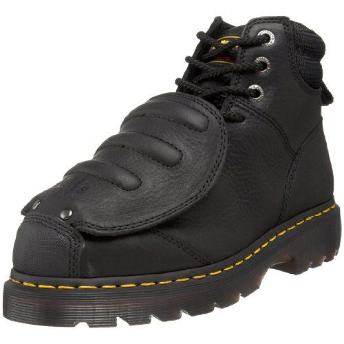 Dr. Martens Men's Ironbridge MG ST Steel-Toe Met Guard Boot,Black,12 UK/13 M US Water resistant full-grain with a leather ballistic mesh padded collar. Removable Smartmask insole. Slip resistant to oil, fat, petrol and alkali with a standard wood shank.