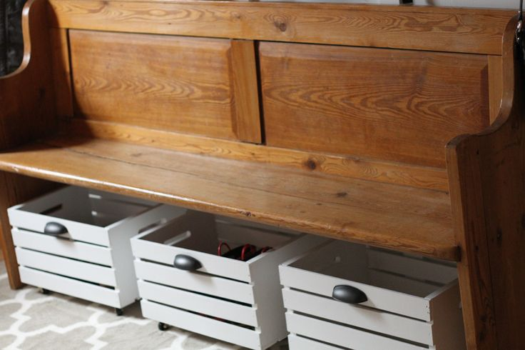DIY Rolling Storage Bins... I need that pew and bins in my breakfast nook! So pretty!