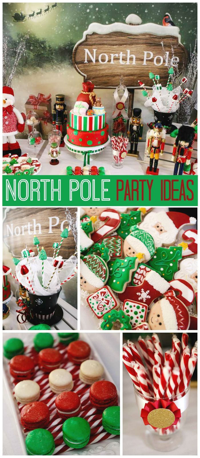 A green and red North Pole Christmas party with a Santa's Workshop theme and amazing treats! See more party planning ideas at http://CatchMyParty.com! (Kids Christmas Party)