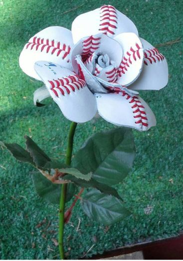 Creative Gift Idea - Sport Buds - This one is a flower made out of a repurposed baseball.@jaclyn843