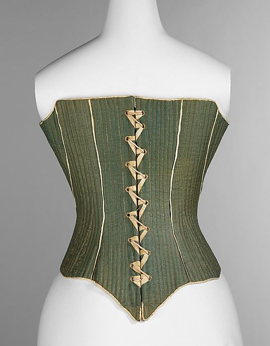 Corset Date: ca. 1780  Culture: American  Medium: wool, leather, linen, reeds