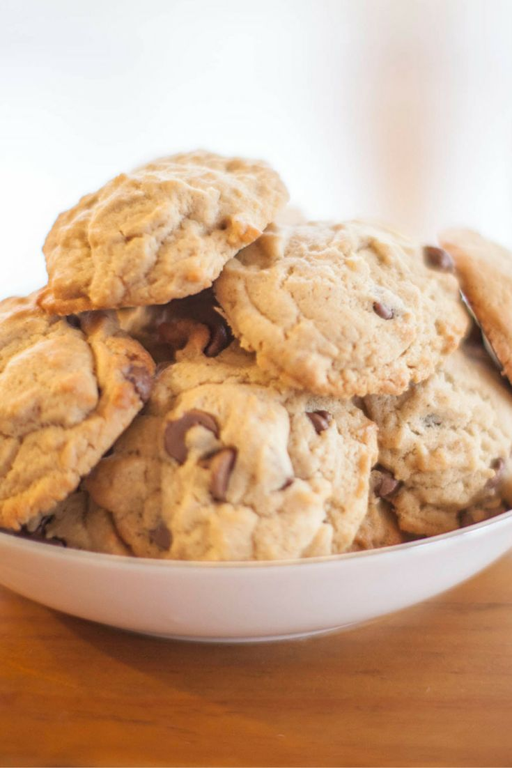 Chocolate Chip Cookies Per serve (one cookie): 596 kilojoules, 142 Calories, 1.0 exchanges #Vegetarian #Type1Diabetes #Recipe