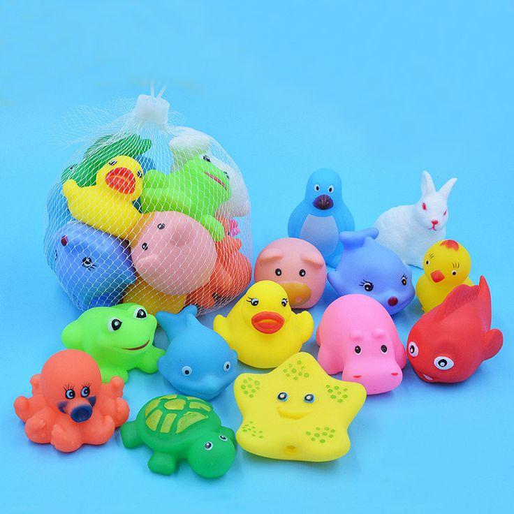 13 Pcs Indah Campuran Hewan Berenang Mainan Air Colorful Lembut Mengambang karet Squeeze Suara Melengking Mandi Mainan Untuk Bayi Mandi mainan