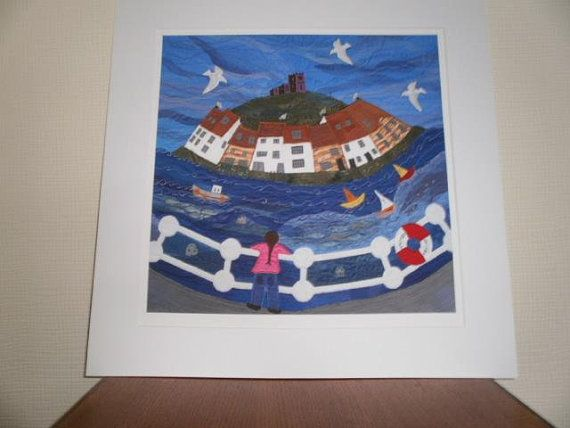 Whitby Harbour Textile Art Giclee Print