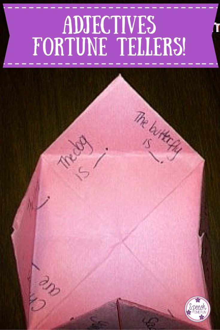 Speech Time Fun: Adjectives Fortune Tellers.  A fun, DIY idea to work on adjectives in your speech room!