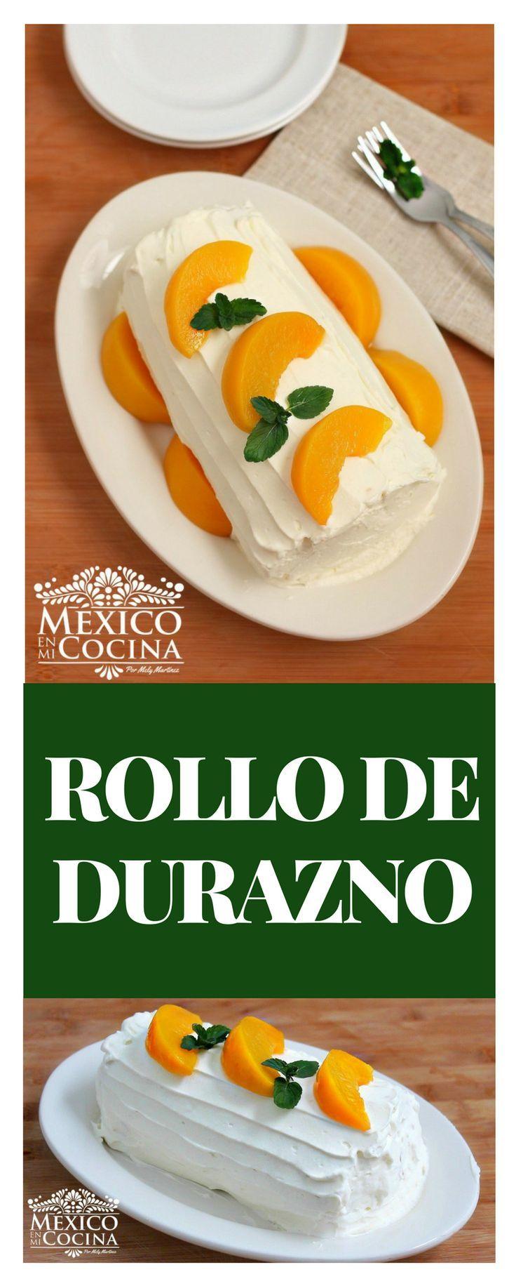 Este tipo de pastel enrollado, también conocido como niño envuelto o brazo Gitano, es muy popular en mi tierra natal.Puedes preparar este rico postre con diferentes tipos de frutas para su relleno, como mangos o duraznos de lata. postre #receta #durazno #saboresdemexico