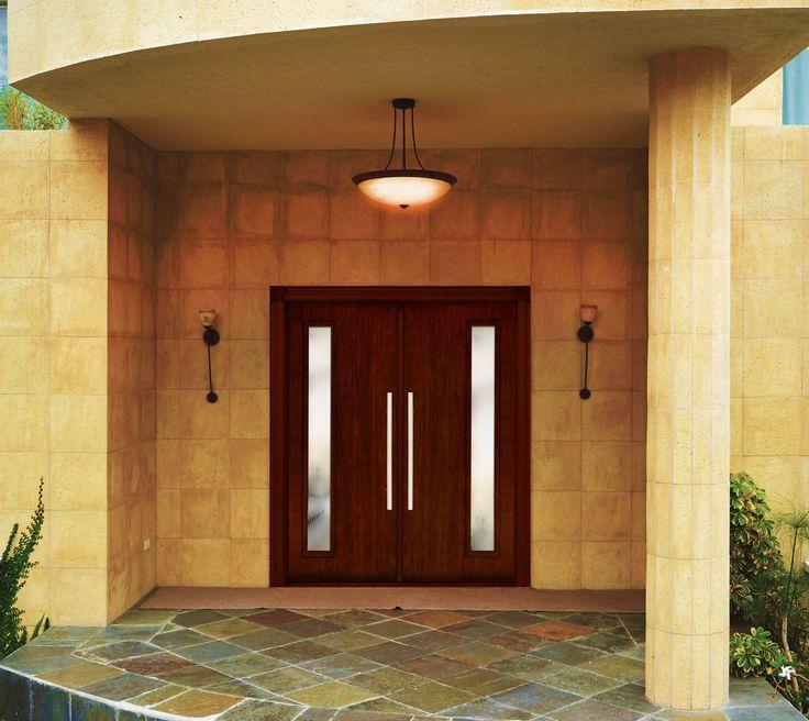 Beauty Shot of a Fully Cladded Fiberglass Contemporary C503 Double Door Entry System. #MasterGrain #Premium #Fiberglass #Doors #Jambs #Mulls #Brickmold #Frames #Cladding #CNC #Contemporary #Modern