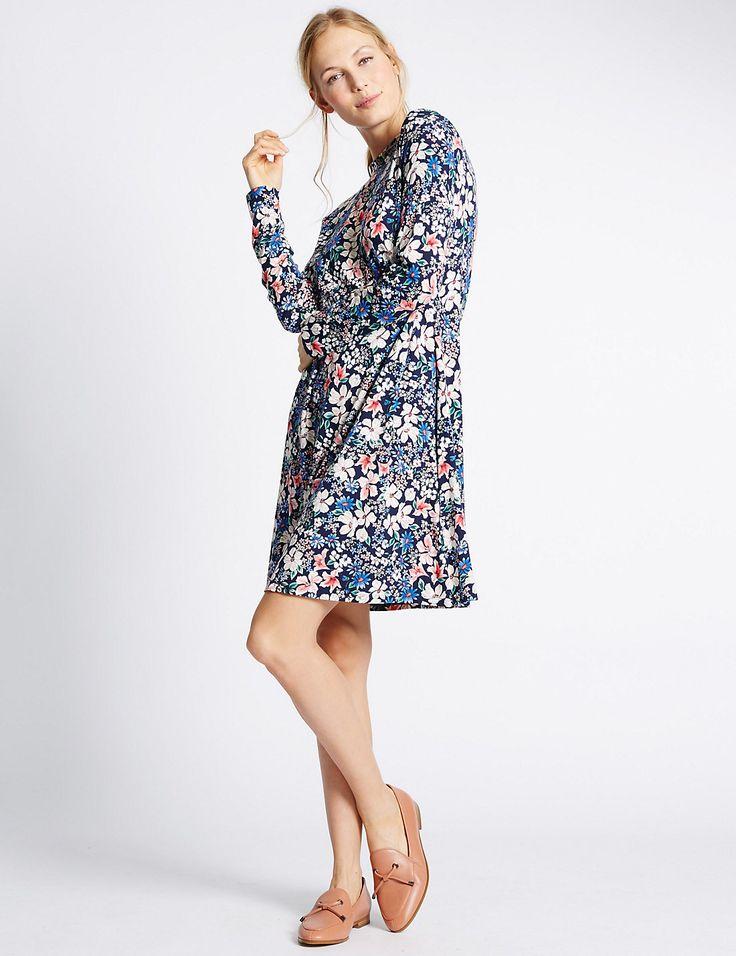 Ditsy Floral Print Long Sleeve Skater Dress