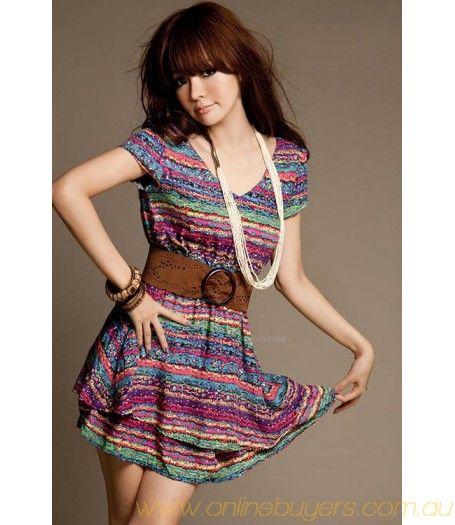 Ethnic Style Iridescence Stripe Print Short Sleeve Summer Dress With Belt For Women #Ethnic #Style #SummerDress #Summer  #Dress