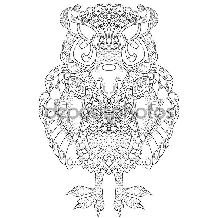 Mano ilustración dibujada de buho estilo zentangle — Ilustración de stock #97056152