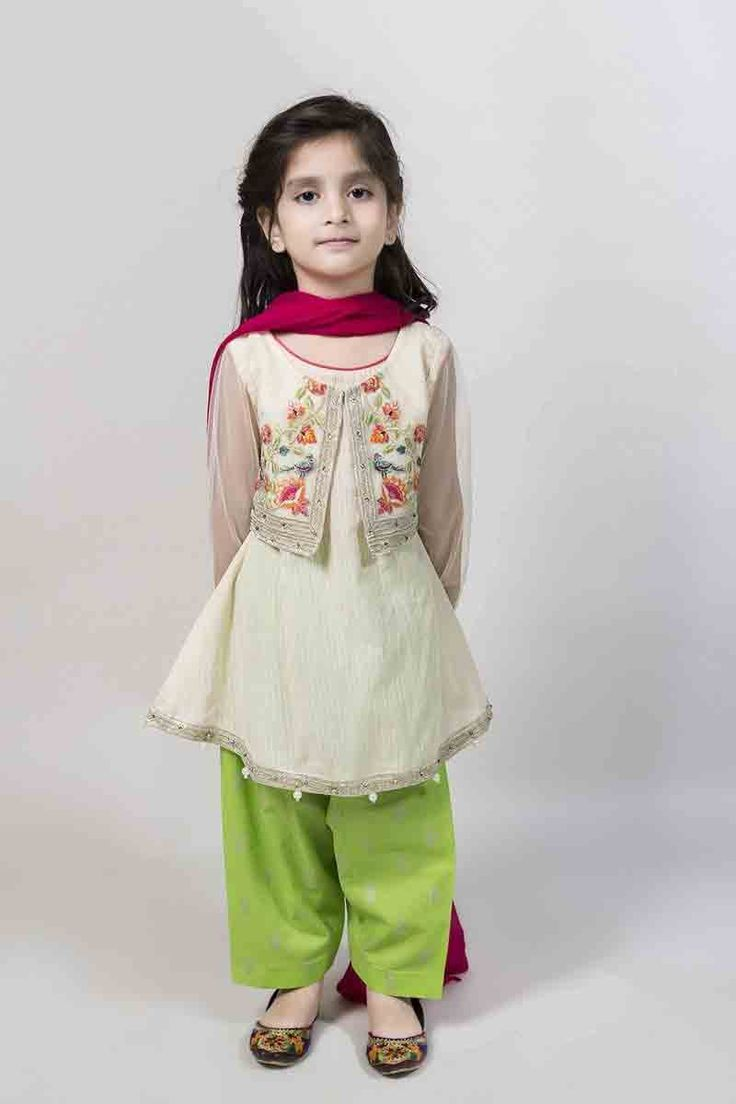 Off white short frock with jacket with green shalwar and maroon dupatta latest kids eid dresses for little girls in Pakistan 2017