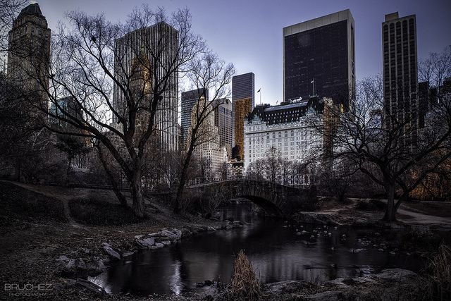 Gapstow bridge after sunrise in Central Park - NYC
